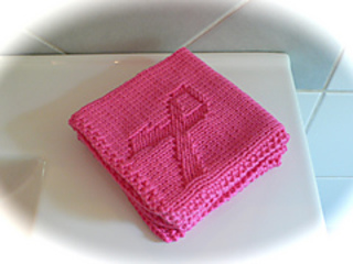 Breast Cancer Knitting Patterns : Ravelry: Pink Ribbon Washcloth/ Breast Cancer Awareness pattern by Marthe Sve...