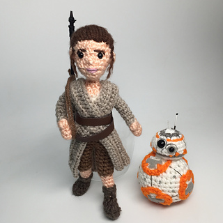 Amigurumi Sewing Machine Pattern : Ravelry: Rey Star Wars Force Awakens Amigurumi with BB-8 ...