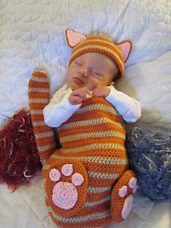 Crochet Cat Baby Cocoon Pattern : Ravelry: Cat Baby Cocoon Hat & Bootie Set pattern by Chi ...