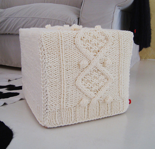 Ravelry: KNITTING PATTERN for chunky aran cable ottoman slip cover pattern by...