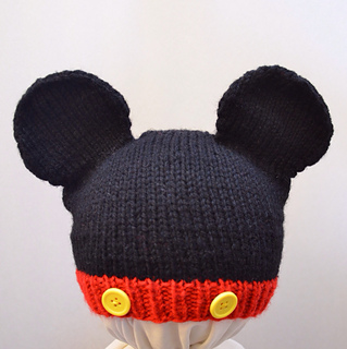 Knitting Pattern Mouse Hat : Ravelry: Mickey Mouse Knit Hat pattern by Cynthia Diosdado
