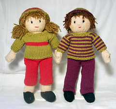 Knitting Pattern Small Doll : Ravelry: Jesse and Josie dolls pattern by Claire Fairall Designs