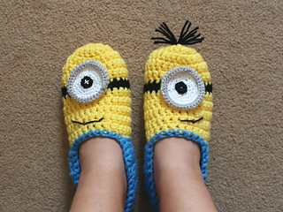 Free Pattern Crochet Minion Slippers : Ravelry: Minion slippers yellow and blue pattern by ...