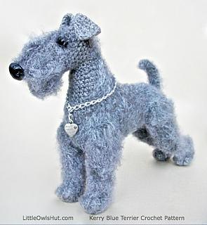 Fox Terrier Amigurumi Patron : Ravelry: 103 Kerry Blue Terrier dog pattern by LittleOwlsHut