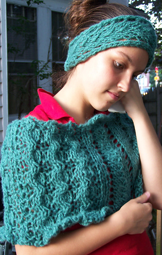 ravelry lacy cabled cape and headband pattern by grace mcewen