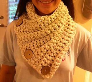 Ravelry 3 Button Crochet Cowl pattern by Maria McClung