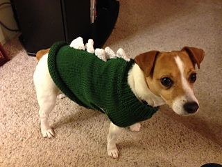 Knitting Pattern For Jack Russell Dog : Ravelry: Dinosaur Doggy Sweater - Jack Russell pattern by Linda Hurst