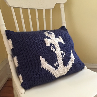 Nautical Cushion Knitting Pattern : Ravelry: Nautical Anchor Pillow pattern by Lauren Olander