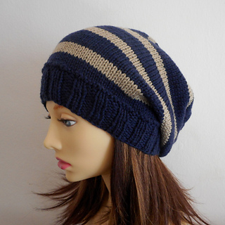 Ravelry: CAMPUS Striped, Slouch Hat- Knit Straight pattern by Anna Artesana