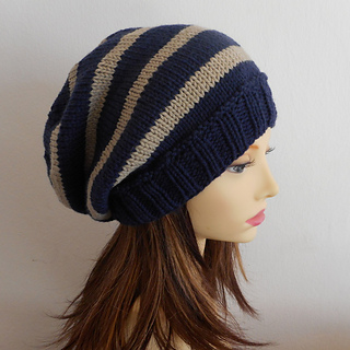 Beanie Knitting Pattern Straight Needles : Ravelry: CAMPUS Striped, Slouch Hat- Knit Straight pattern by Anna Artesana