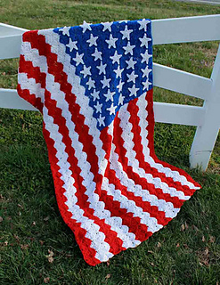 Small American Flag Crochet Pattern : Ravelry: Catherine Wheel Stitch American Flag Afghan ...