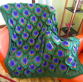 Free Crochet Pattern For Peacock Afghan : Ravelry: Birds of a Feather Peacock Afghan pattern by ...