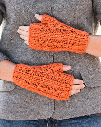 Double Lace Rib Fingerless Mitts #704 PDF