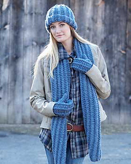Ravelry: Cozy Knit Set (Scarf, Hat, Mitts) pattern by Bernat Design Studio