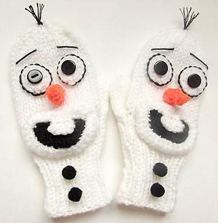 Knitting Pattern For Olaf From Frozen : Ravelry: Olaf Frozen Snowman Mittens Knit pattern by ...