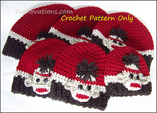 Free Crochet Pattern For Sock Monkey Mittens : Ravelry: Sock Monkey Hat Beanie pattern by Yarn Twins