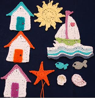 Crochet Sea Motifs Free Patterns : Ravelry: 7 Sea Life and Beach Themed Crochet Motif ...