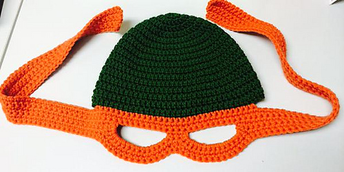 Free Crochet Pattern Ninja Turtle Mask : Ravelry: Ninja Turtle Child s Beanie with Mask pattern by ...
