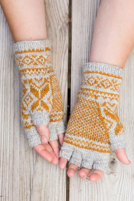Guants tricotés Belyse par Ysolda Teague.