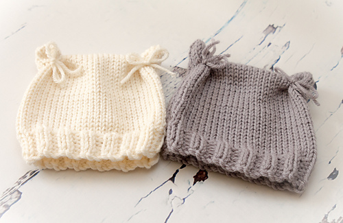 Knitting Pattern For Beanie With Ears : Ravelry: Cat Ears Baby Beanie Hat pattern by Tracy Muir