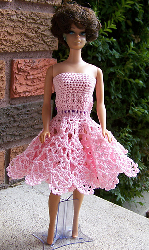 Ravelry Barbie Frilly Pink Cocktail Dress Pattern By