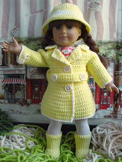 Ravelry Rainy Day Set 18 Quot Doll Coat Hat Boots Pattern By