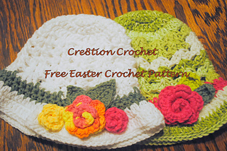 Ravelry: Shell Stitch Easter Hat with Spring Blossoms ...