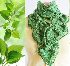 Knitting Pattern For A Small Leaf : Ravelry: Scarf Twin Leaf pattern by Jen Giezen