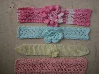 Knitted Baby Headband Pattern Easy : Ravelry: Easy Knit Baby Headbands with Flowers pattern by ...