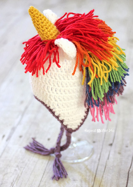 Free Halloween crochet patterns: unicorn hat from Repeat Crafter Me