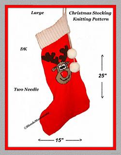 Reindeer Knitting Pattern Chart : Ravelry: Christmas Rudolph Reindeer Stocking Knitting Pattern - 2 Needle - 25...