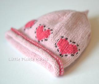 Little Heart Knitting Pattern : Ravelry: Baby beanie - Little Hearts (flat knitting ...