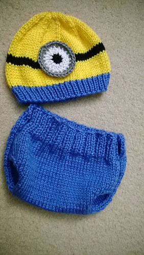Ravelry: Minion Baby Hat & Diaper Cover Set pattern by Sundaes Shop