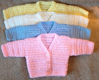 Premature Baby Crochet Cardigan Pattern : Ravelry: r&r v neck preemie cardigan pattern by michelle ...