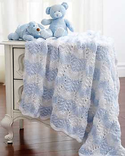 Checkerboard Knitting Patterns Baby Blankets : Ravelry: Feather and Fan Baby Blanket pattern by Bernat Design Studio