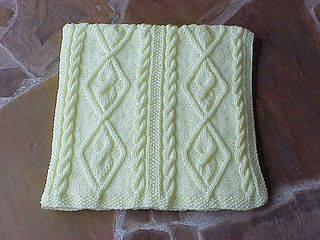 Ravelry Diamond Cable Panels Travel Blanket Pattern By