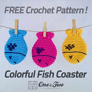 Free Crochet Fish Pillow Pattern : Ravelry: Colorful Fish Coaster pattern by Carolina Guzman