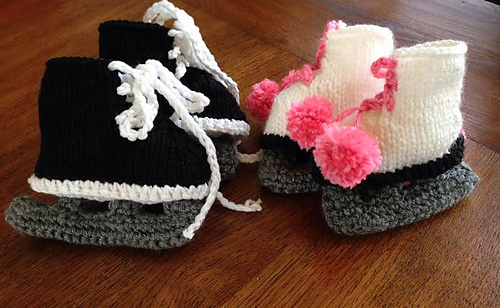 Free Crochet Pattern Baby Hat With Bow : Ravelry: Ice Skate Booties (Hockey & Figure Skates ...