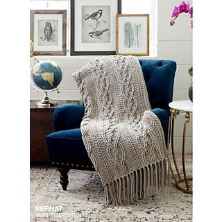 Ravelry Cablework Blanket Pattern By Bernat Design Studio