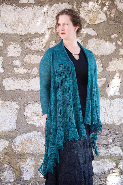Pavonis cardigna shawl pattern by Robynn Weldon in Dublin Dye Company Silken Lace