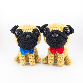 Free Crochet Pug Rug Pattern : Ravelry: Pug With Red Bowtie Amigurumi pattern by ...