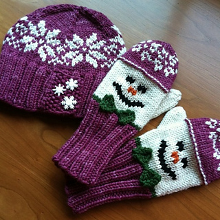 Ravelry Snowman Hat And Mitten Set Pattern By Wendy Gaal