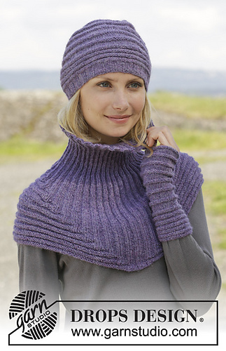 Free Loom Knitting Patterns For Scarves : Ravelry: 158-6 Chloe Hat & Neckwarmer pattern by DROPS design