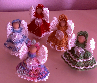 Free Crochet Patterns Clothespin Angels : Ravelry: Leisure Arts #2518, Christmas Clothespin Angels ...
