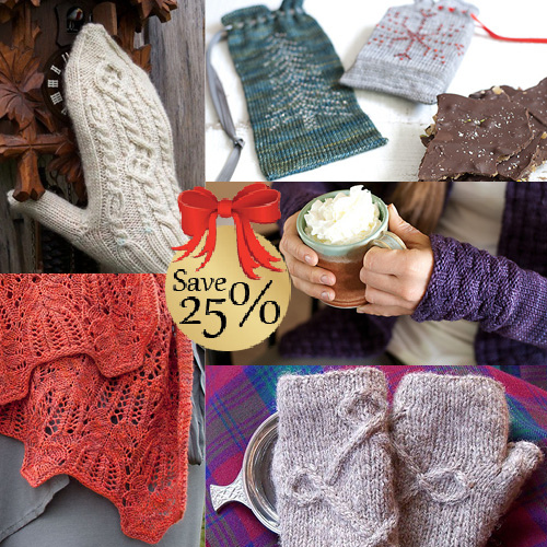 collage of knitting patterns with 25% marking