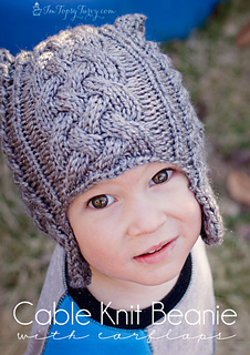 c8551aef5 Ravelry: Cable Knit Beanie pattern with earflaps pattern by Ashlee ...