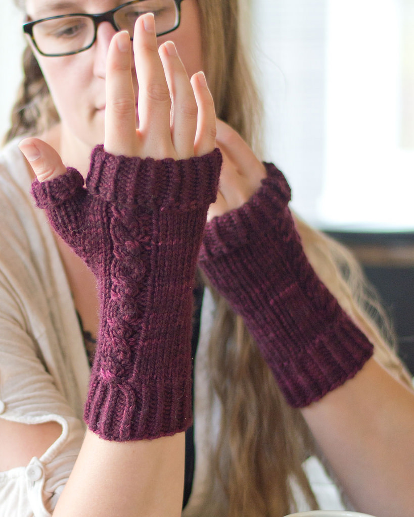 two fingerless mitts
