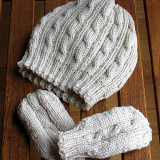 1da225cd371 Ravelry  Cabled Baby Hat and Mittens Set pattern by Paulina Chin