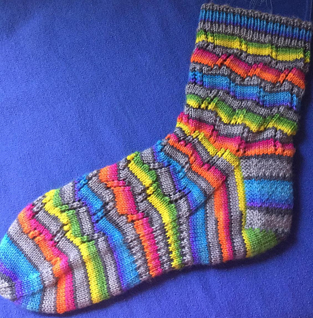 Ravelry Tumbling Blocks Striped Socks Pattern By Leah Oakley