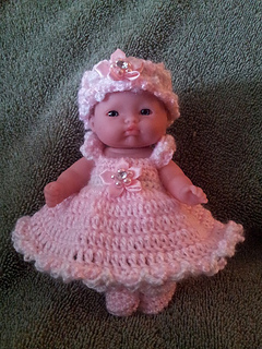 Ravelry Pink Cloud Dress Set For 5 Inch Baby Doll Pattern By Amy